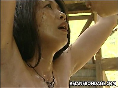 Asian Ass Bdsm video: Asian bitch roped up so the man can fuck her