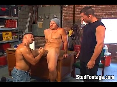 Gay Threesome In A The Garage