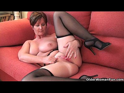 Stockings Milf Mature video: Classy grandma Joy gets fingered and masturbates with dildo up her ass