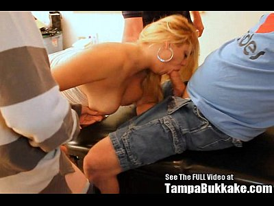 Blonde Bukkake Chubby video: Chubby Blonde Cum Swallower Bukkake GangBang