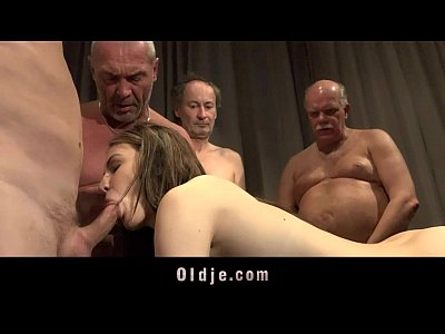 Gangbang Masturbation Hardcore video: Young nurse gangbanged by five old doctors at a summit