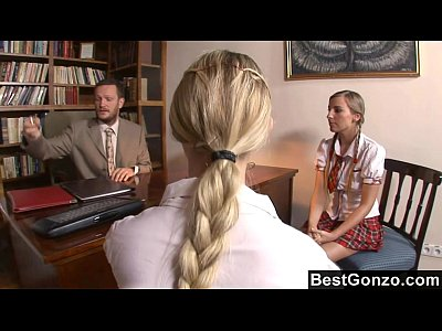 Blondes Blowjob Cumshot video: Bribing the principal with their young pussies