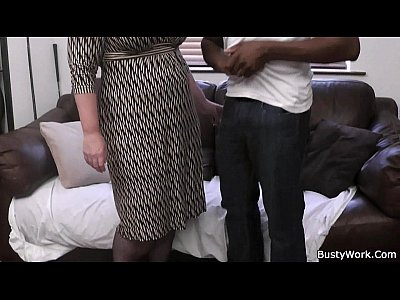 Boss Atwork Bigtitsboss video: Busty lady boss in fishnets loves black meat