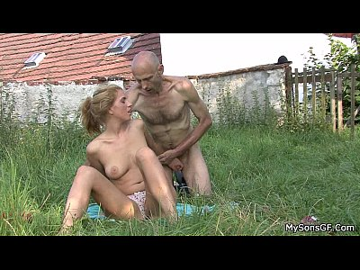 Cheatinggirlfriend Familytaboo Fatherforce video: Oldman pleases son's gf outdoors