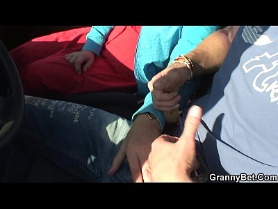 Granny Wife Mom video: Old bitch gets nailed in the car by a stranger