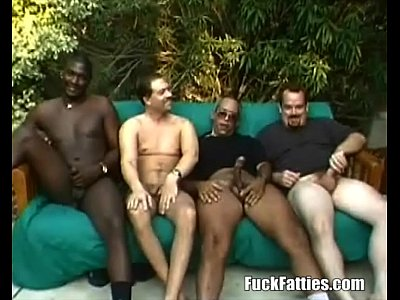 Gangbang Interracial video: Fat Chocolate Slut In Interracial Gangbang
