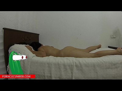 sucks pussy and masturbates with a vibrator on the bed until he cums