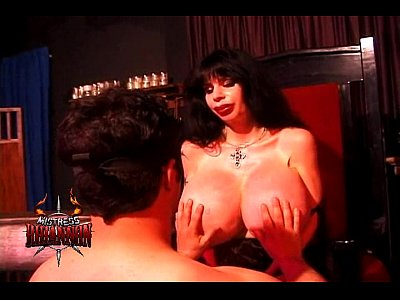 Bigtits Mistress Dominatrix video: Mistress Rhiannon smothers a lucky man