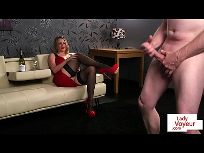 Stockings Voyeur Femdom video: Busty british voyeur humiliates tugging guy