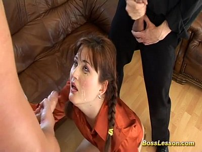 Teen Facial Deepthroat video: extreme anal lesson by our smoking boss