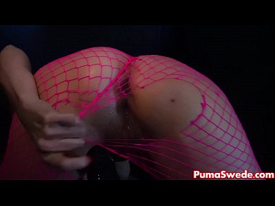 Stockings Fingering Tits video: Euro Blonde Puma Swede Rips Fishnets to Cum!