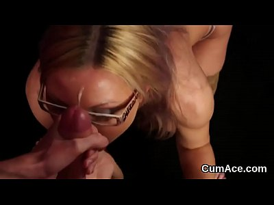 Frisky bombshell gets cum shot on her face gulping all the charge
