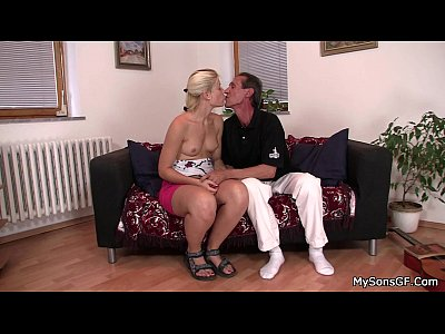 Olderman Olderyounger Granpa video: She sucks and rides older man cock