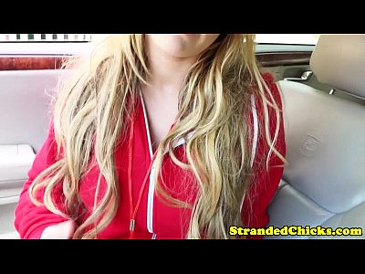 Bigtits Bimbo Blonde video: Stranded busty blonde fucked closeup in car