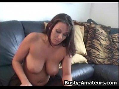Busty Brunette Leslie On Dildo Fun