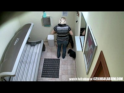 Blonde Czech Czechav video: Hidden Camera in Public Tanning Bed