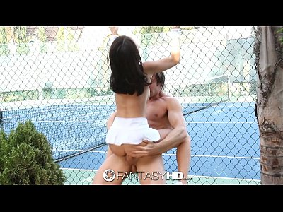 Blowjob Brunette Dillionharper video: HD FantasyHD - Little Dillion Harper gets fucked on the tennis court