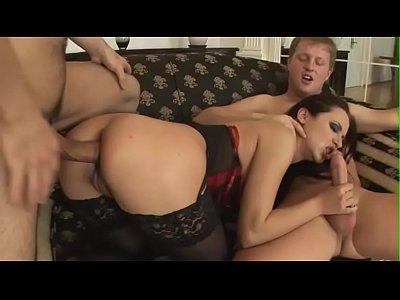 German Amateur Hardcore video: Oksana has a very hard threesome