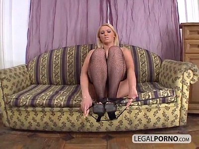 Anal Blonde video: Hot blonde gets fucked and double-penetrated by two big cocks HC-17-01