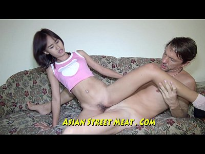 Sexy asian babe public city scene