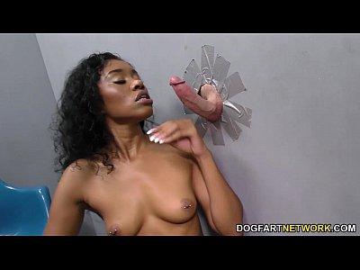 Yasmine De Leon takes random gloryhole cock