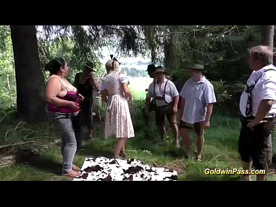 German Gangbang video: extreme gangbang in nature