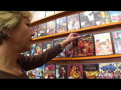 Tits Sex Facial video: Granny fucks a guy in the video store