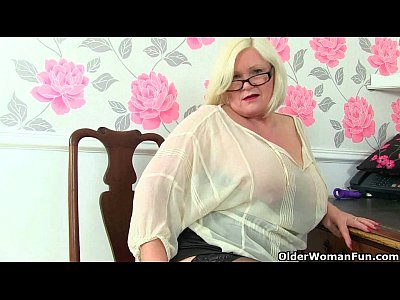 Grannies British Stockings video: British gilfs Lacey Starr and Amanda Degas at the office