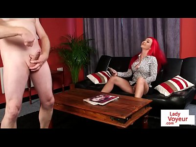 British English Euro video: Redhead british voyeur teasing jerking guy