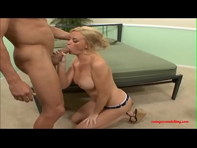 Fuck Cock video: SwingersWatching.com blond head white big cock in front her husband cum in mouth