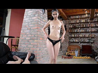 Ballbusting Domination Dominatrix video: First time handjob given by an exotic dark eyed girl