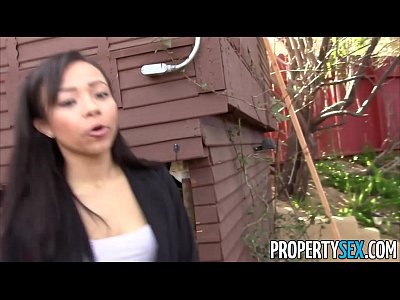 Blowjob Cowgirl Cumshot video: PropertySex - Hot black real estate agent tricked into fucking
