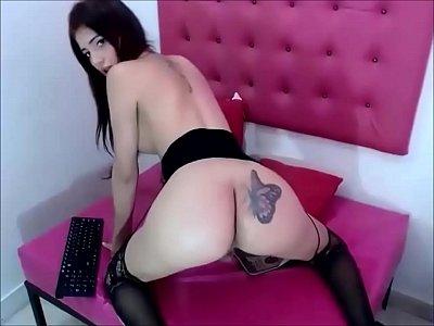 Very Pretty Brunette Tgirl Masturbates