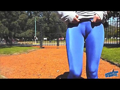 Round Ass Teen In Ultra Tight Shiny Spandex Showing Cameltoe In Public!