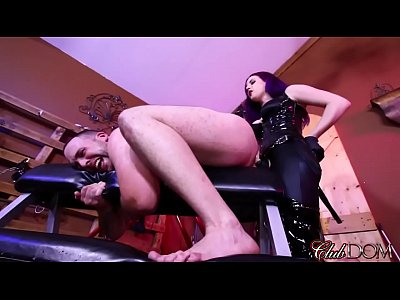 Clubdom Dildo Domination video: FemDom Goddess Drills His Ass With Her Strap-On