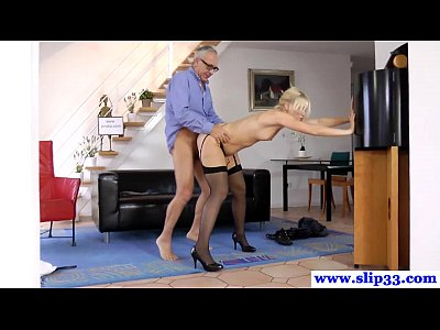 British Stockings Teen video: Tall euro beauty loves pleasuring geriatric