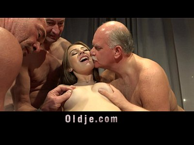 5 Old men gang bang nasty young blonde