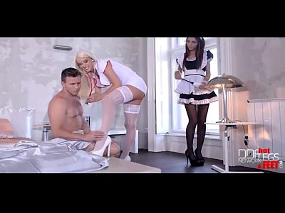 Hardcore Footjob Fuck video: Ultra sexy maid and nurse give their patient a double footjob and fuck