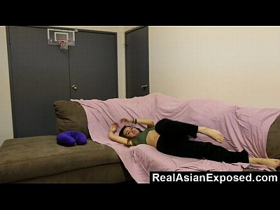 Asian Brunette Striptease video: Sexy Asian Cums On Her Couch