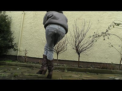 Wet Pee Piss video: HD desperately waiting with full bladder, jeans wetting