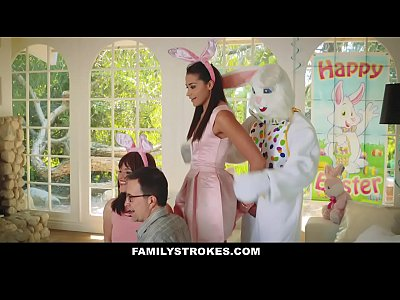 Hardcore Teen Brunette video: FamilyStrokes - Cute Teen Fucked By Easter Bunny Uncle