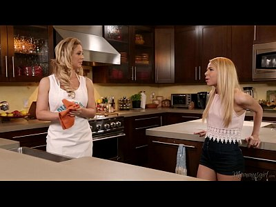 Blonde Licking Lesbian video: Cherie DeVille and Alina West Kitchen Adventure