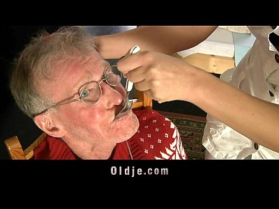 Blonde Blowjob Doublepenetration video: Old farts dp with their young nurse
