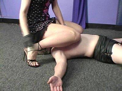 Domina smothering chastity slave