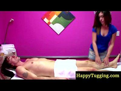 Asiansex Brunette Handjob video: Asian masseur tugs her clients hard cock