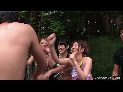 Lots of Asian sluts sucking dicks in the pool