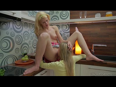 Teen Shaved Lesbian vid: Angel Piaff and Delphine Kitchen Fun