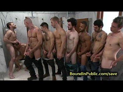 Videso Gays bound gay face cummed in public restroom