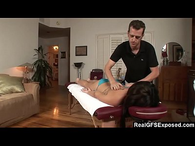 RealGfs – Hot brunette gets wet from oil massage