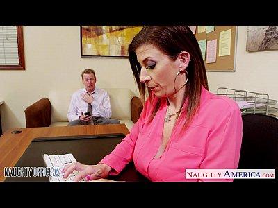 Shaved Brunette Milf video: Brunette milf Sara Jay fucking in the office